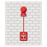 火警和警报按钮在砖墙上 预先警戒措施 安全检查 在舱内甲板的传染媒介例证 库存例证