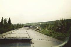 火车乘驾通过森林 免版税图库摄影
