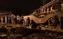 火车出轨在呵叻,泰国 10/7/2017 库存图片