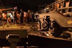 火车出轨在呵叻,泰国 10/7/2017 免版税图库摄影