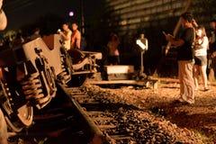 火车出轨在呵叻,泰国 10/7/2017 免版税库存图片