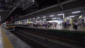 火车到达地铁平台的,当通勤者排队时,东京,日本 股票视频