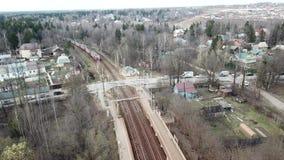 火车到达驻地Lugovaya 背景地球高铁路速度培训运输 影视素材
