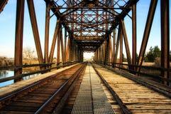 火车和步行通行的老生锈的钢桥梁 免版税库存图片