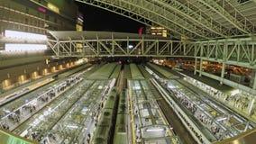 火车和通勤者Timelapse录影一个火车站的在大阪,日本 股票视频