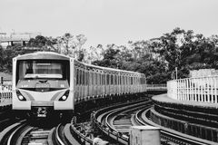 火车和铁路在Sâo保罗,巴西 库存照片