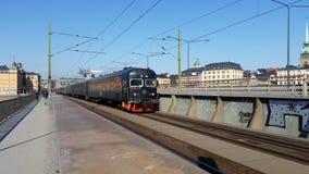 火车在斯德哥尔摩 库存图片