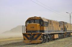 火车在约旦瓦地伦的沙漠 免版税库存图片