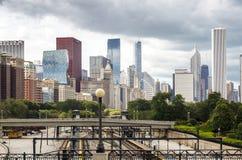 火车基础设施在芝加哥,伊利诺伊 库存照片