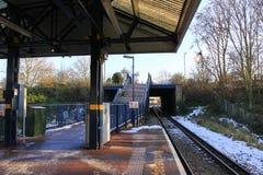 火车平台在Wimbledon 免版税库存图片