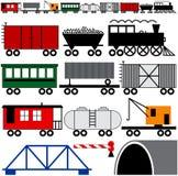 火车引擎和汽车 免版税库存照片
