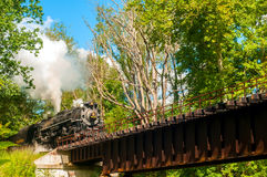 火车接近的桥梁 免版税库存图片