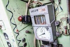 火车操作员的小室的内部 免版税图库摄影