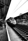 火车旅行 在黑白的艺术性的神色 免版税库存图片