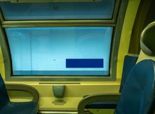 火车横幅空白蓝色标志的驻地 免版税库存图片