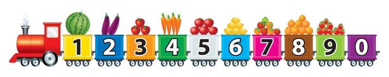 123火车水果和蔬菜 皇族释放例证