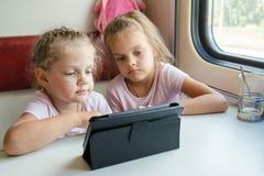 火车的两个女孩观看在板材的一部动画片 库存照片