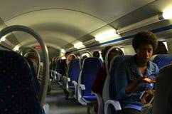 火车的人们 免版税库存照片