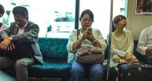火车的日本人 库存照片