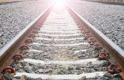 火车的长的铁路 图库摄影