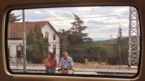 火车窗口夫妇 免版税库存照片