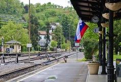 火车站与slovenien旗子 免版税库存照片