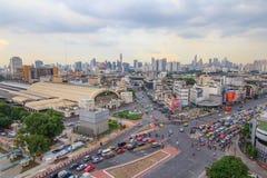 火车站华Lamphong驻地公开地标顶视图  免版税图库摄影