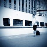 火车站和培训 免版税库存照片
