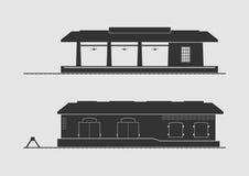 火车站和物品棚子 库存例证