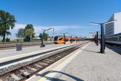 火车站在塔林,爱沙尼亚 免版税库存照片