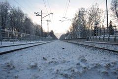 火车站在拉脱维亚村庄 库存图片