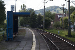 火车站在波兰 免版税库存照片