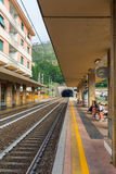 火车站在蒙泰罗索阿尔马雷,意大利 库存照片