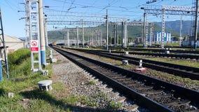火车站在西伯利亚 免版税图库摄影