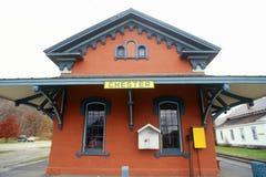 火车站在彻斯特, VT 免版税库存图片