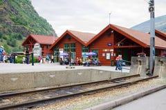 火车站在Flam村庄在挪威 免版税库存照片