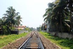 火车站在Hikkaduwa,斯里兰卡 免版税库存照片