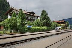 火车站在Mayrhofen 奥地利 免版税库存图片