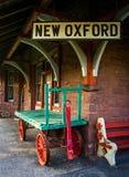 火车站的前面在新的牛津,宾夕法尼亚 免版税库存照片