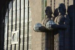 火车站的大厦在赫尔辛基 免版税库存图片