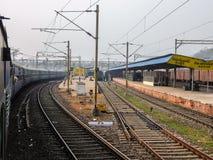 火车站看法在维杰亚瓦达,印度 库存照片