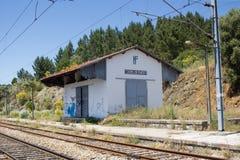 火车站鬼魂在Mouriscas, Ribatejo, Santarém,葡萄牙 库存照片