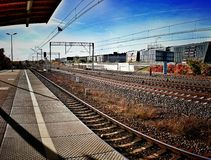 火车站 在葡萄酒生动的颜色的艺术性的神色 库存照片