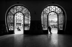 火车站Rossio 城市老里斯本 葡萄牙 黑色白色 图库摄影