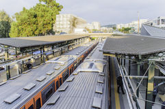 火车线在雅典 库存图片