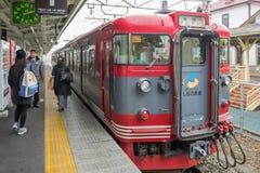 火车被停止在轻井泽火车站 库存图片