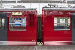 火车被停止在轻井泽火车站 图库摄影