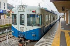 火车被停止在Fujikyu火车站 库存图片