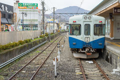 火车被停止在Fujikyu火车站 库存照片