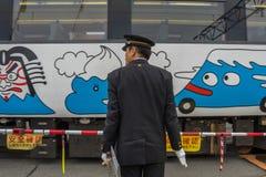 火车被停止在Kawaguchiko火车站 免版税库存照片